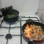 Spaghettis noires aux noix de St Jacques flambées
